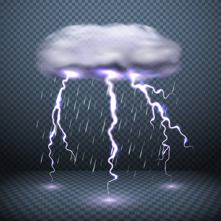 Illustration for Dark transparent background with stormy cloud lightning and falling rain realistic vector illustration - Royalty Free Image