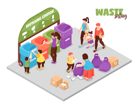 Illustration for People having zero waste lifestyle and sorting garbage at recycling station 3d isometric vector illustration - Royalty Free Image