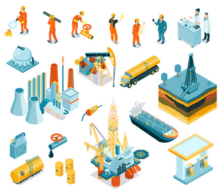Illustration for Isolated isometric oil industry workers icon set with employers working at the factory vector illustration - Royalty Free Image