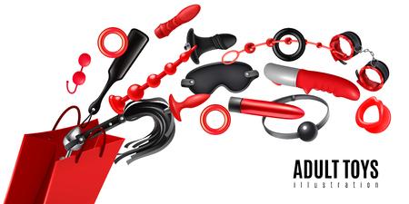 Ilustración de Adult toys design concept as advertising for sex shop production realistic vector illustration - Imagen libre de derechos
