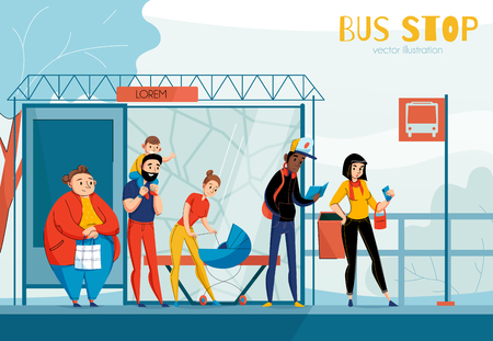 Illustration pour Queue people bus station composition with different status sex and age people vector illustration - image libre de droit