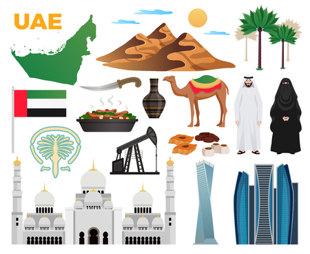 Ilustración de UAE travel flat icons collection with landmarks national flag clothing cuisine mountains modern architecture mosque vector illustration - Imagen libre de derechos