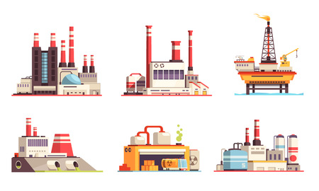 Illustration for Industrial buildings flat set of petroleum industry power plants power stations oil offshore platform isolated vector illustration - Royalty Free Image