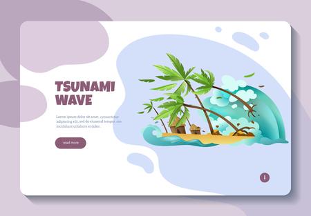Illustration pour Natural disasters online information concept banner web page design with tsunami wave read more button vector illustration - image libre de droit