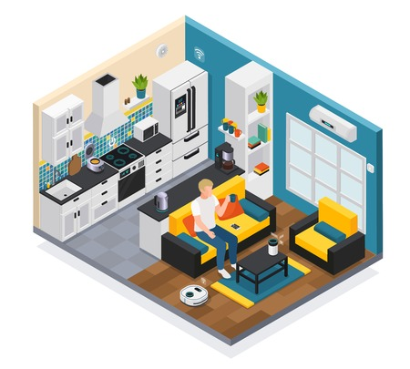 Illustration pour Smart home interior isometric composition with iot internet of things remote controlled kitchen living room devices vector illustration - image libre de droit