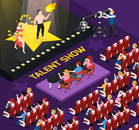 Illustration pour Street artist isometric people composition with view of auditorium during talent show shooting with human characters vector illustration - image libre de droit