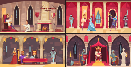 Illustration pour Castle interior concept 4 flat scenes set with king dining hall throne and ballrooms isolated vector illustration - image libre de droit