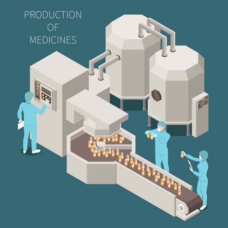 Illustration pour Pharmaceutical production isometric colored composition with production of medicines descriptions and working process in the lab vector illustration - image libre de droit