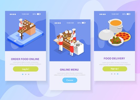Online food delivery isometric vertical banners set with