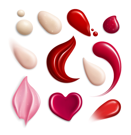 Illustration pour Cosmetic foundation lipgloss cream smears realistic icon set with swatch different shapes and tones vector illustration - image libre de droit