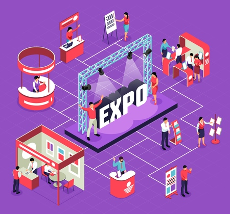 Illustration pour Isometric expo flowchart composition with isolated images of exhibit booths stands people and stage for performance vector illustration - image libre de droit