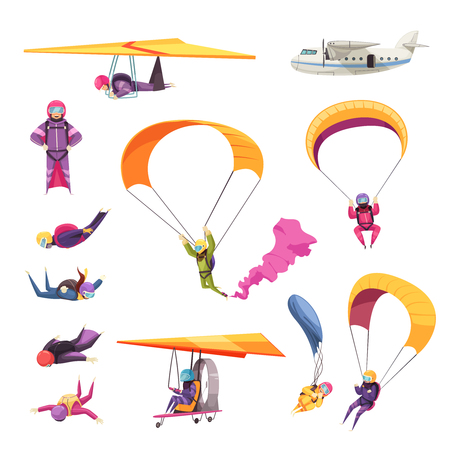 Illustration pour Skydiving extreme sport elements flat icons collection with parachute jump free fall airplane glider isolated vector illustration - image libre de droit
