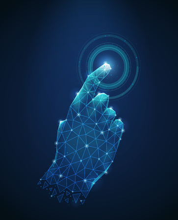 Illustration pour Futuristic blue background with polygonal wireframe image of human hand touch to electronic display abstract vector illustration - image libre de droit