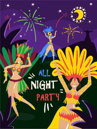Illustration pour Brazil carnival annual celebration night party invitation with dancing women in colorful bikini feathers costumes vector illustration - image libre de droit
