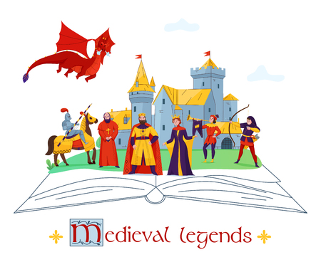 Illustration for Medieval legends stories tales concept flat colorful composition with castle  kingdom characters on open book vector illustration - Royalty Free Image
