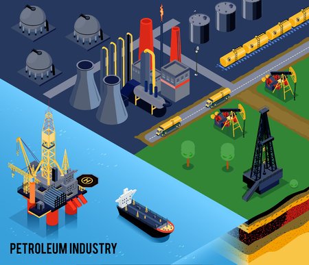 Illustration pour Isometric oil industry composition with petroleum industry headline and landscape of the city vector illustration - image libre de droit