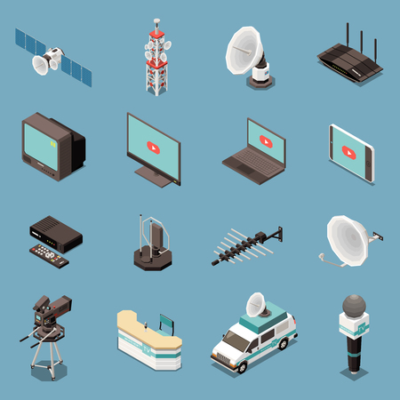 Illustration pour Isometric set of icons with various telecommunication equipment and devices isolated on blue background 3d vector illustration - image libre de droit