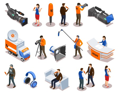 Illustration pour Broadcasting isometric icons set with newsman commentator reporter and people participating in talk show and interview vector illustration - image libre de droit