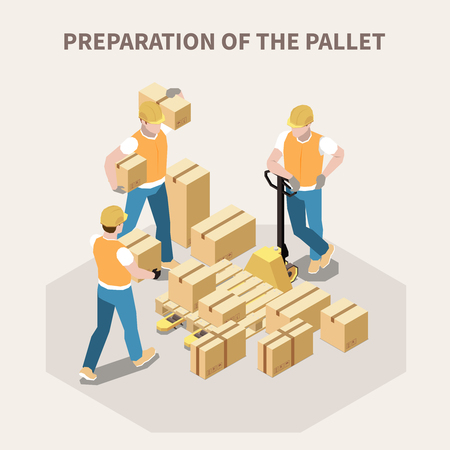 Ilustración de Warehouse workers putting cardboard boxes on wooden pallet 3d isometric vector illustration - Imagen libre de derechos