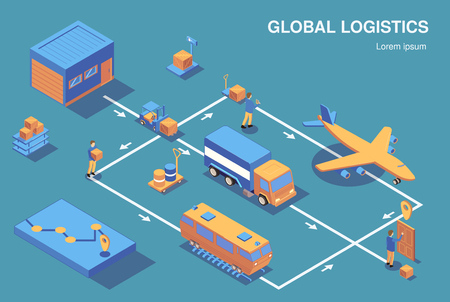 Illustration pour Isometric logistics horizontal composition flowchart with view of human characters and various vehicles connected with arrows vector illustration - image libre de droit