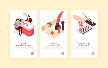 Illustration pour Isometric notary services vertical banners collection with three compositions of human characters vintage stamps and text vector illustration - image libre de droit