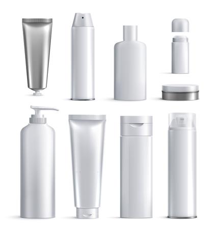 Illustration pour Mens cosmetics bottles realistic icon set different shapes and sizes for beauty vector illustration - image libre de droit