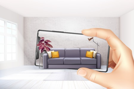 Illustration pour Smartphone augmented virtual reality interior application apps choosing sofa experience for touch screen realistic composition vector illustration - image libre de droit