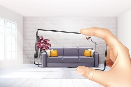 Ilustración de Smartphone augmented virtual reality interior application apps choosing sofa experience for touch screen realistic composition vector illustration - Imagen libre de derechos