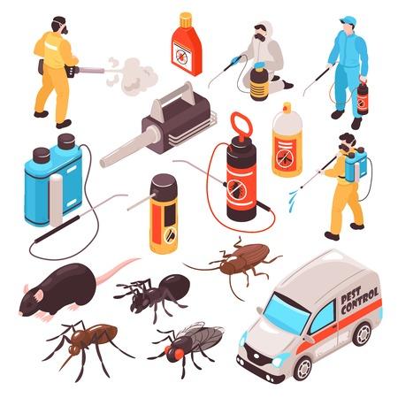 Illustration pour Pest control disinfection service isometric icons set with ant rat cockroach  professional exterminators team equipment - image libre de droit