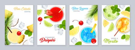 Ilustración de Cocktails top view poster set with tropical fruit realistic isolated vector illustration - Imagen libre de derechos