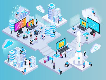 Ilustración de Cloud services isometric composition with conceptual images of network elements storage capsules and small human characters vector illustration - Imagen libre de derechos