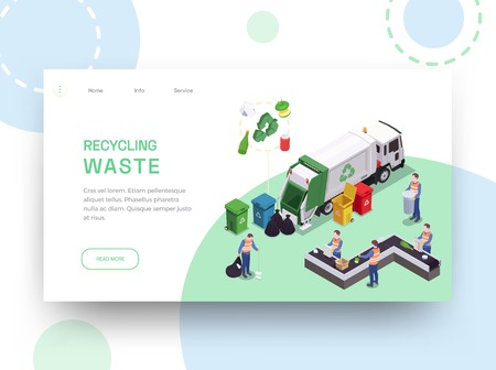 Illustration pour Garbage waste recycling isometric web site landing page design with links editable text and cleaning images vector illustration - image libre de droit