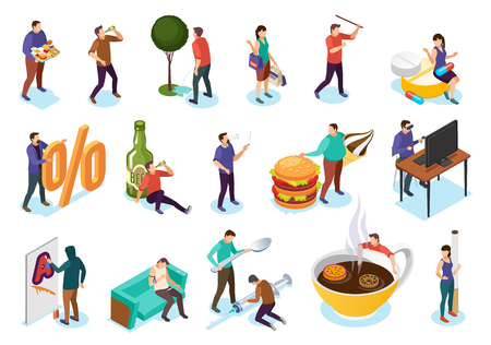 Illustrazione per Isometric bad habits addiction set with isolated images icons of people and objects of their addiction vector illustration - Immagini Royalty Free