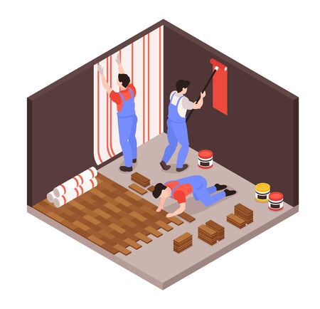 Illustration for Home remodeling repair service isometric composition with renovation team wallpapering laying floor tiles painting walls vector illustration - Royalty Free Image