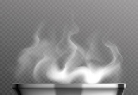 Illustration pour White steam over pan realistic design concept on transparent background vector illustration - image libre de droit