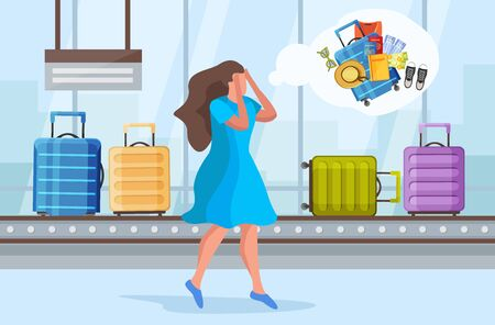Illustration pour Lost suitcase flat composition with airport baggage claim area with reel and character of distressed woman vector illustration - image libre de droit