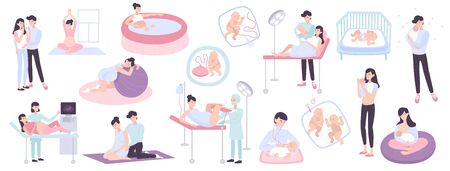 Illustration for Flat collection of pregnancy childbirth and maternity scenes with young parents doctors and newborn children isolated vector illustration - Royalty Free Image