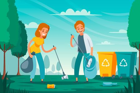 Illustration for Modern garbage collection waste sorting flat composition with volunteers picking up litter junk left outdoor vector illustration  - Royalty Free Image