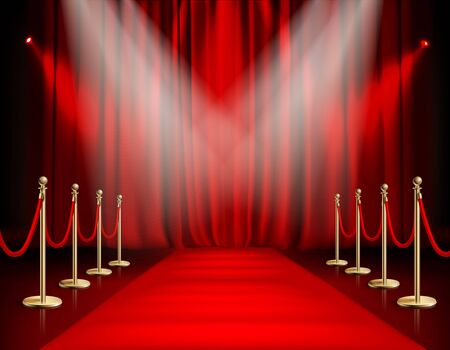 Illustration pour  Awards show red background with carpet path golden barrier with rope on both sides and closed curtain realistic vector illustration - image libre de droit