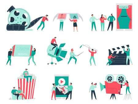 Illustration for Cinema flat icons set with film making team various equipment and audience isolated on white background vector illustration - Royalty Free Image