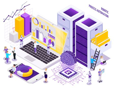 Illustration pour Robotic process automation isometric composition with little human characters and images of office workspace essential elements vector illustration - image libre de droit