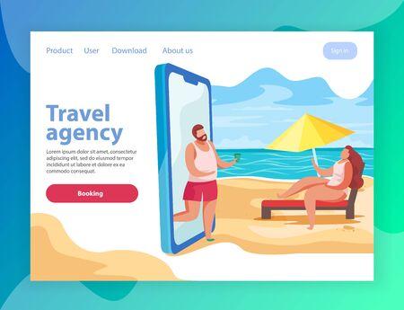 Ilustración de Summer party flat landing page website background with conceptual images of smartphone and links with text vector illustration - Imagen libre de derechos