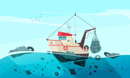 Illustration for Nature water pollution composition with open sea scenery and flat image of cleaning ship collecting waste vector illustration - Royalty Free Image