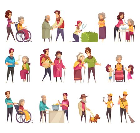 Illustration pour Elderly people professional social help service workers volunteers family support flat cartoon elements set isolated vector illustration  - image libre de droit