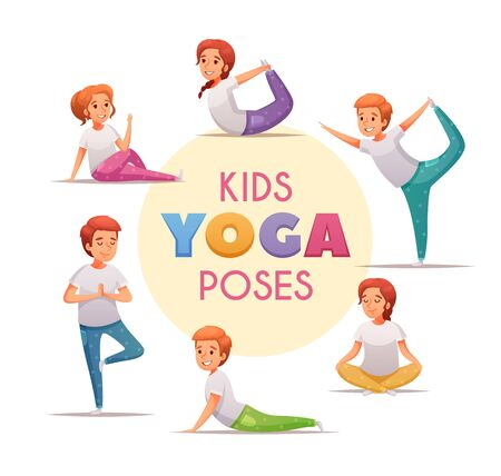 Illustration pour Kids yoga concept with yoga poses for boys and girls symbols cartoon  vector illustration - image libre de droit