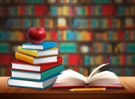Ilustración de Back to school background with books pencil and apple on table in library realistic vector illustration - Imagen libre de derechos