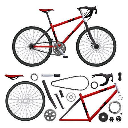 Illustration pour Realistic bicycle parts set of isolated bike elements and built-up model images on blank background vector illustration - image libre de droit