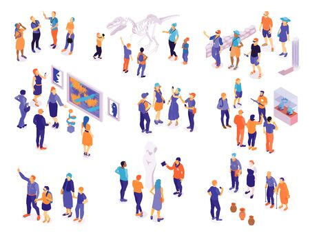 Illustration pour Set with isolated isometric guide excursion visitor characters with groups of human characters on blank background vector illustration - image libre de droit