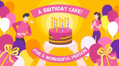 Flat background with big birthday cake two people balloons and gift boxes vector illustration