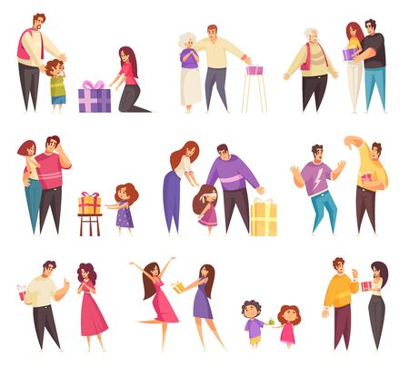 Illustration for Gift present giving set of isolated icons with flat doodle characters of people in different relationships vector illustration - Royalty Free Image